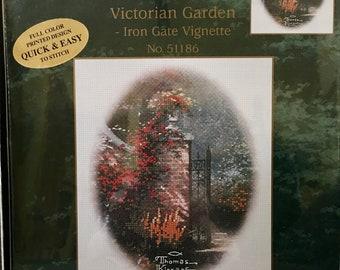 Thomas Kinkade Victorian Garden ll Trellis Vignette #51196 Kit Embellished Cross Stitch