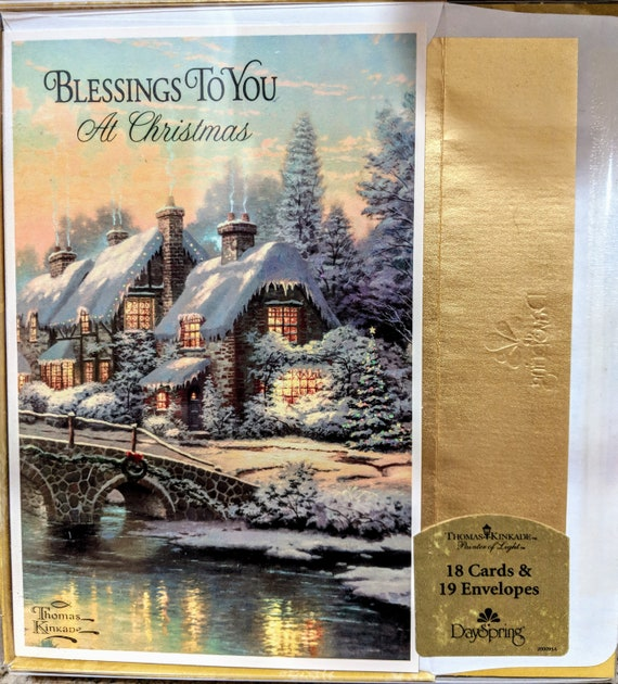 Thomas Kinkade Christmas.Thomas Kinkade Christmas Cards Blessings To You At Christmas