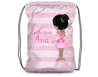 8adf01510554 Personalized Ballerina Drawstring Backpack - Pink Stripes Ballet Cinch Sack  Bag