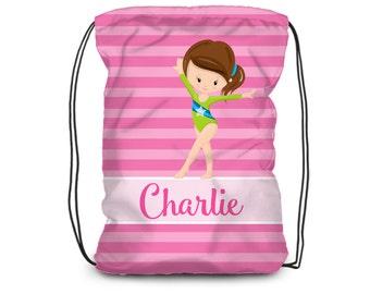 fad94f7d2d5c Kids Gymnastic Drawstring Backpack - Girls Gymnast Cinch Sack