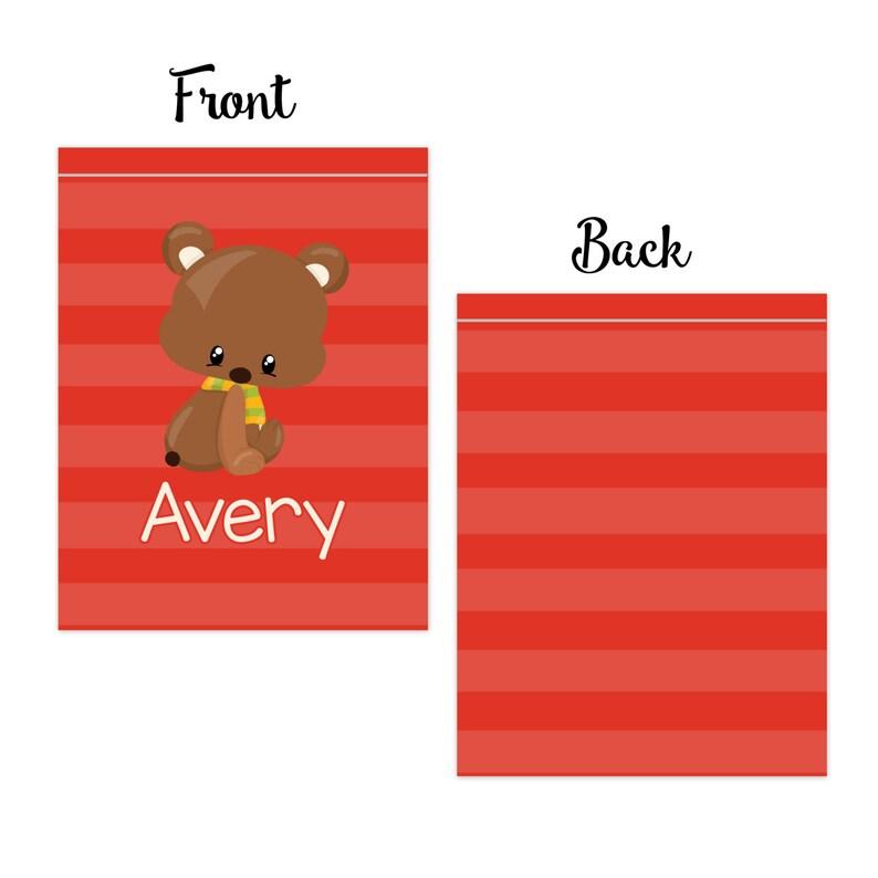 Teddy Bear Autumn Bag Red Stripe Fall Animal Cinch Sack Bear Cub Personalized Drawstring Backpack Kids Name Gift You Pick Animal