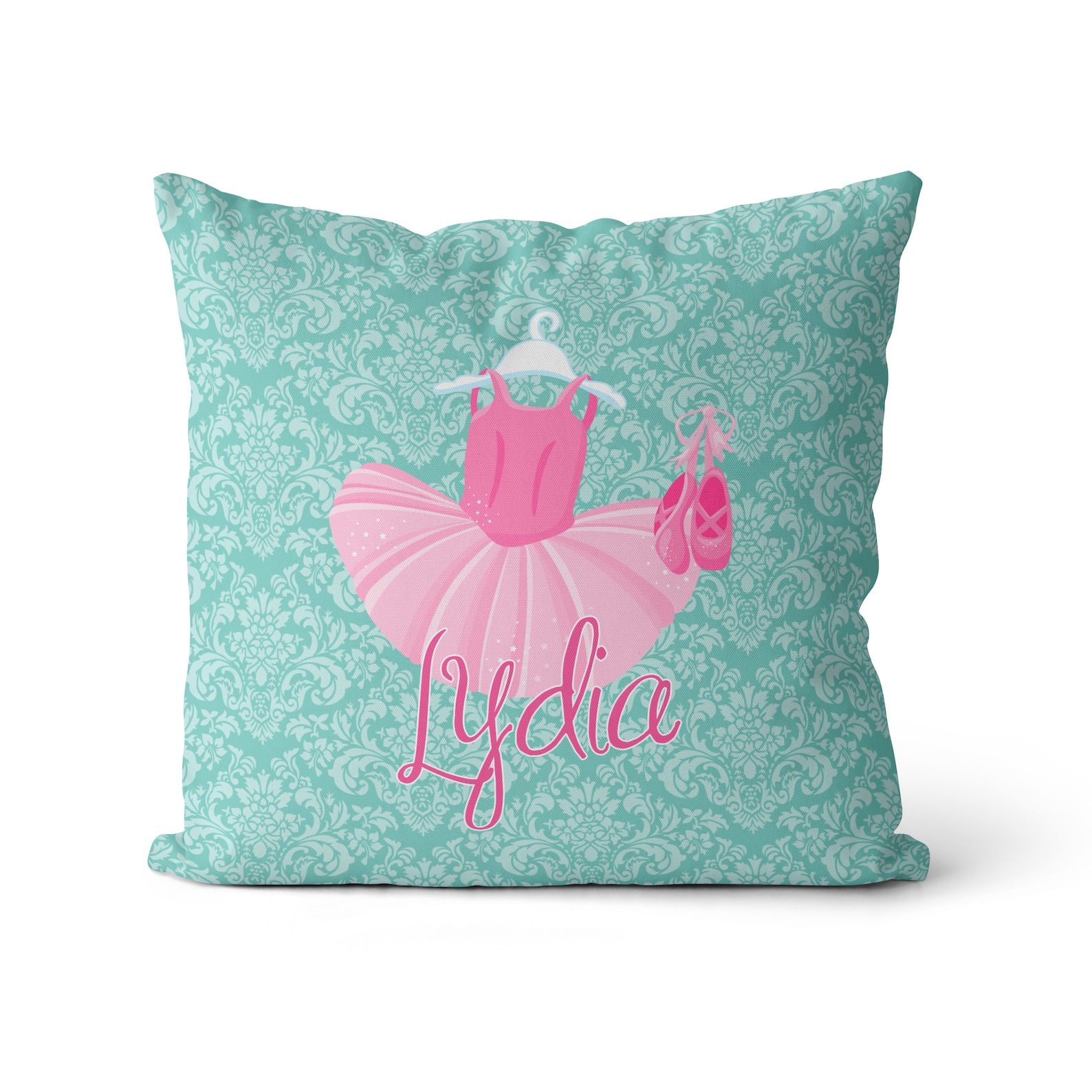 ballet pillow case - turquoise damask ballerina pillow, pink tutu, ballet shoes, ballet personalized throw pillow - kids name gi