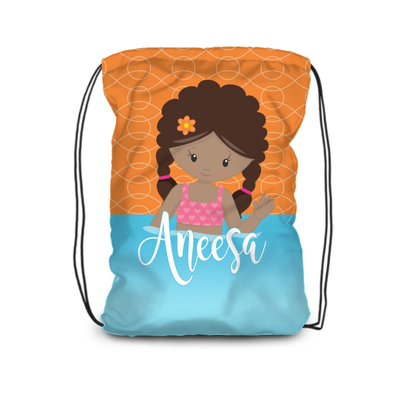 80213f5f8b08 Pool Personalized Drawstring Backpack - Orange, Blue Water Pool Swim Cinch  Sack, Pool Towel Bag, You Pick Girl - Kids Name Gift