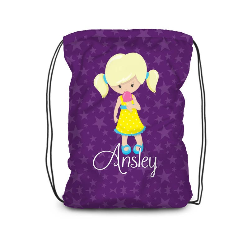 Kids Name Gift Dark Purple Stars Ice Cream Cone Cinch Sack Sweet Treat Personalized Bag Ice Cream Drawstring Backpack You Pick Girl