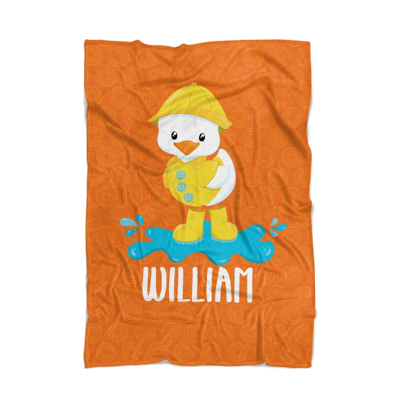 Kids Name Gift Baby Duck Personalized Baby Shower Blanket You Pick Animal Baby Spring Blanket Orange April Showers Soft Throw Decor