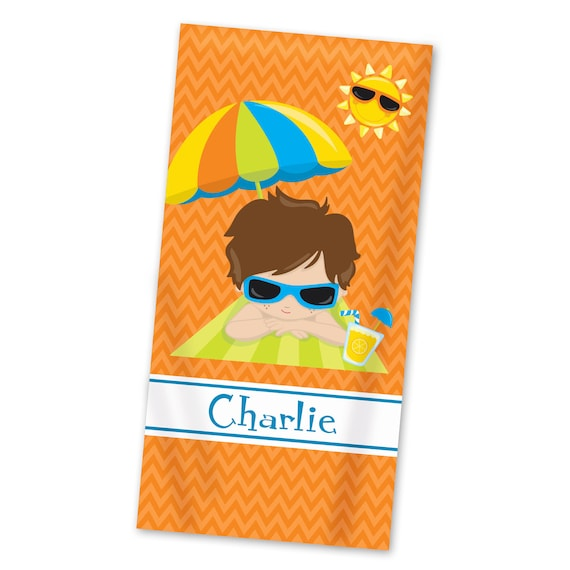 Personalized Beach Towel For Toddler: Personalized Kids Beach Towel Orange Chevron Lightweight