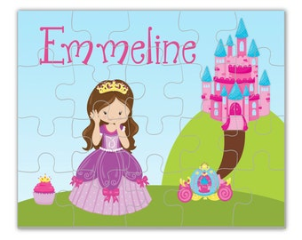 Personalized Princess Puzzle - Pink Castle Puzzle, Beautiful Purple Girl Princess Puzzle, You Pick Girl - Kids Name Gift