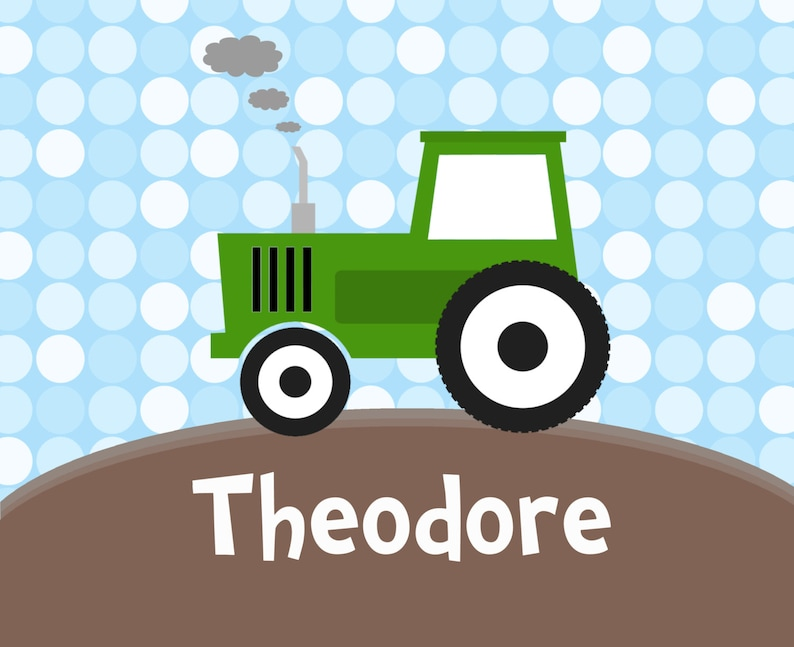 You Pick Tractor Farmers Green Tractor Toddler Puzzle Kids Name Gift Tractor Personalized Puzzle Blue Dots Farm Personalized Puzzle