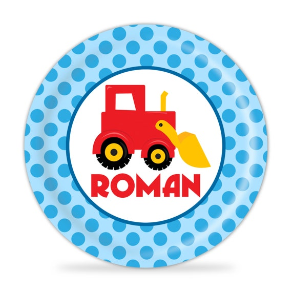 Construction Plate Red Stripes Dump Truck Melamine Personalized Name Gift
