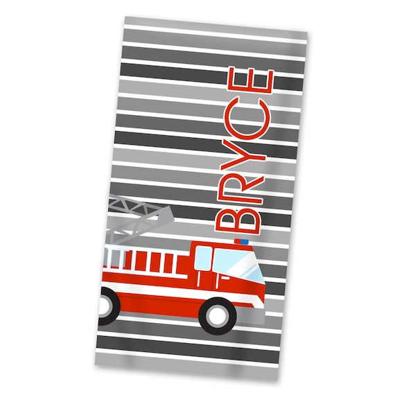 Personalized Firetruck Hooded Towel