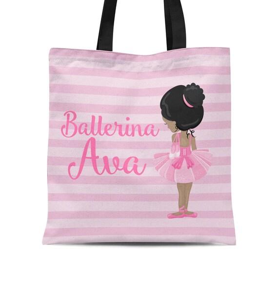 Name Tote Ballerina Dancer Custom Canvas Tote Ballet Canvas Tote Girly. Personalized Ballet Cotton Canvas Tote