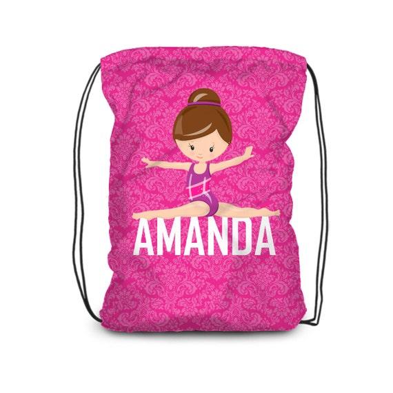 Personalized Gymnast Drawstring Backpack Hot Pink Damask   Etsy ccb6853da5