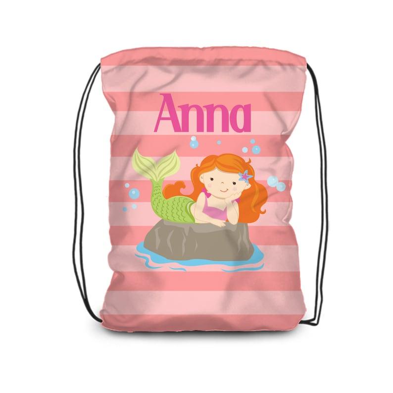 dbd03b512a28 Mermaid Drawstring Backpack - Coral Stripe Mermaid Cinch Sack, Peach  Mermaid Personalized Bag, You Pick Girl - Kids Name Gift