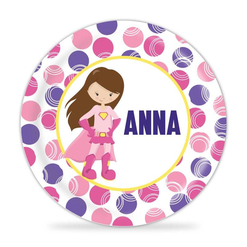 Kids Name Gift Superhero Melamine Plate Pink Purple Super Girl Hero Dinner Plate You Pick Girl Personalized Superhero Plate
