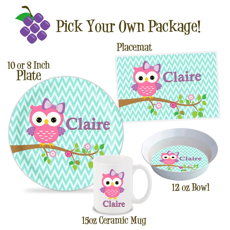 Kids Owl Plate Childs Name Gift Pink Woodland Bird Owl Melamine Personalized Plate Lime Green Chevron Owl Dinner Plate You Pick Owl