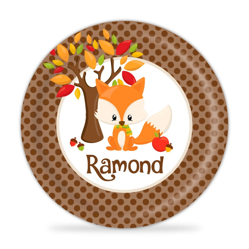 Personalized Fall Fox Plate Brown Dots Fox Thanksgiving Dinner Plate Kids Name Gift You Pick Animal Autumn Animals Melamine Plate