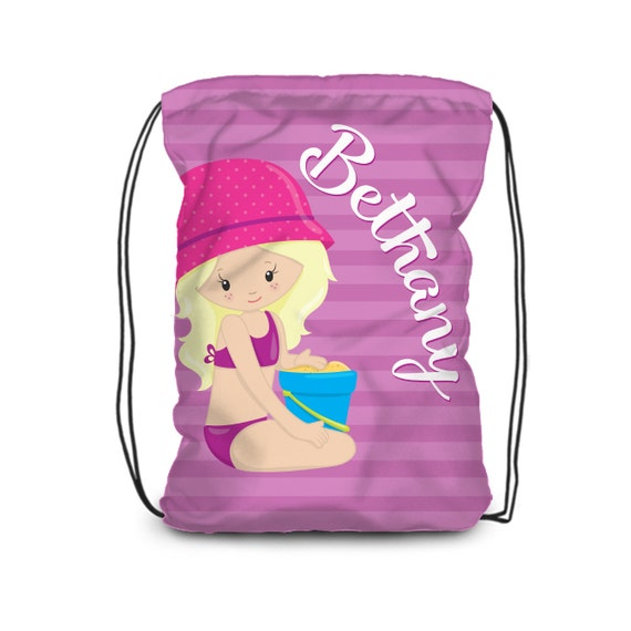 Beach Drawstring Sack Cinch Pack Backpack Bag Pink Flip Flop Personalized
