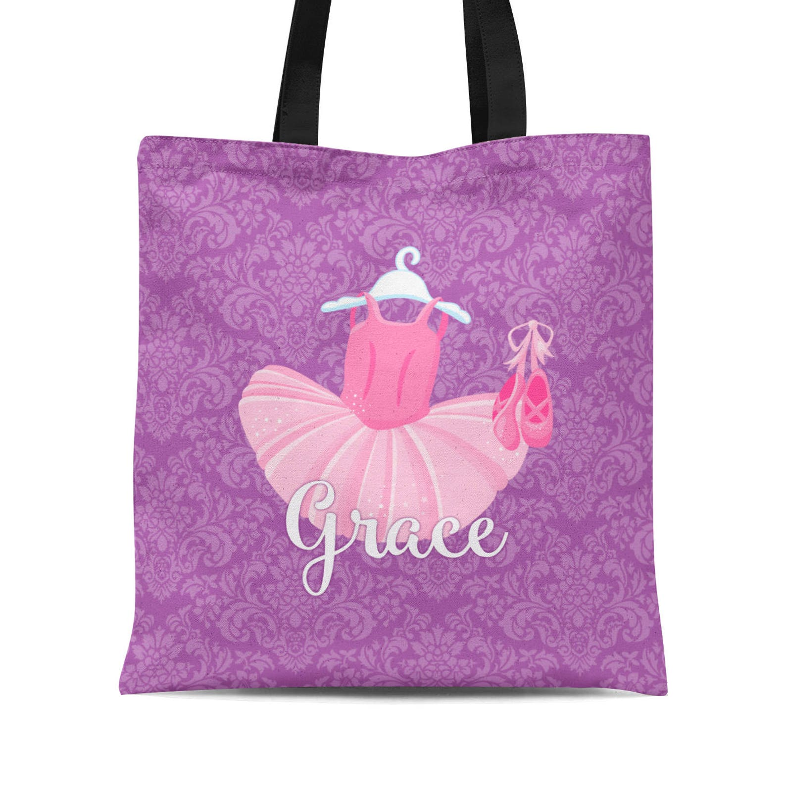 personalized ballerina tote bag - purple damask ballet bag, pink tutu ballet slipper ballet dancer tote sack - kids name gift ba