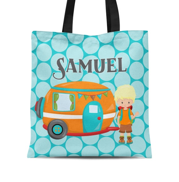 Kids Camping Tote Bag You Pick Kid Childs Name Gift Orange RV Boy Camper Personalized Tote Bag Turquoise Blue Dots Camp Sack