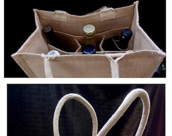 Natural Jute Burlap 6 Bottle Wine Tote Bag Reusable Jute Wine Carrier w   Divider   free shipping   428d6f909