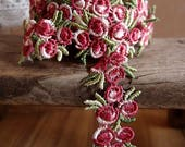 3 4 quot Vintage Red Rose Floral Embroidered Crochet Lace Trim Ribbon - 5 yards free shipping