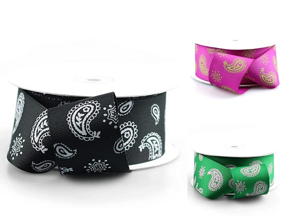 """Paisley 1.5/"""" Printed Grosgrain Ribbon 25 yards for Crafts decor Choose Colors"""