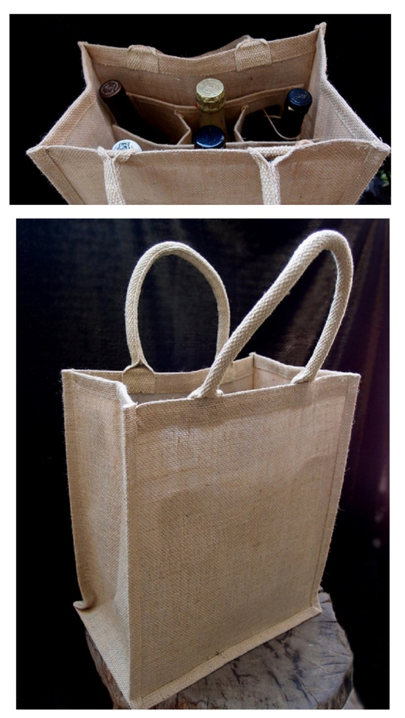 8fc8af809 Natural Jute Burlap 6 Bottle Wine Tote Bag Reusable Jute Wine