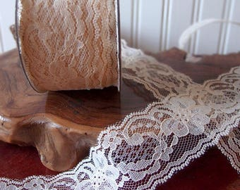"""2"""" wide x 25 yards Floral Pattern Lace Chantilly trim for bridal, baby, lingerie Ribbon - Choose Colors * free shipping *"""
