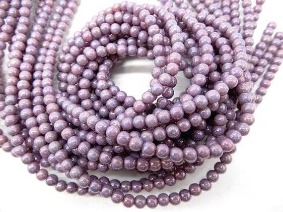 100 Amethyst Czech Pressed Glass Druk Round Beads 4mm