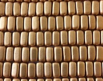 Matte Metallic Flax CzechMates Bricks, 3x6mm 50 beads, K0171