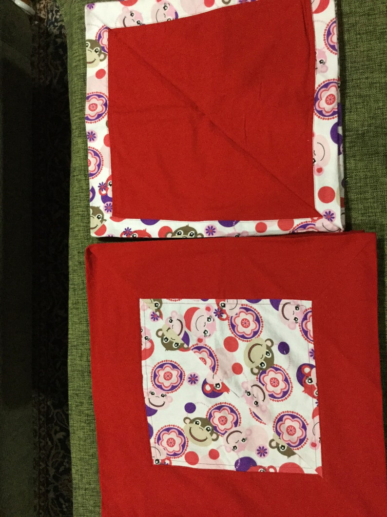 Sale Monkeys swinging from trees or dressed in business attire or red and purple monkey faces double layer large flannel receiving blanket