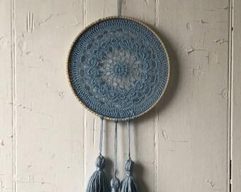 Light Blue Crochet Dream Catcher - Small