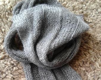 Handspun handknit Suri alpaca scarf