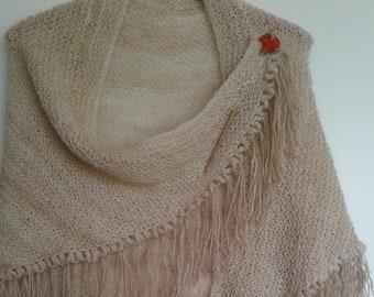 alpaca and silk handspun handknit shawl in apricot colour
