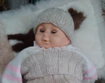 Handspun handknit Baby cocoon and cap in alpaca