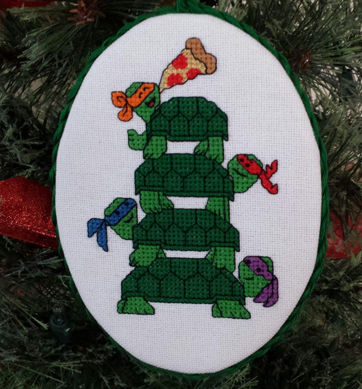 Teenage Mutant Ninja Turtle Christmas tree cross stitch | Etsy