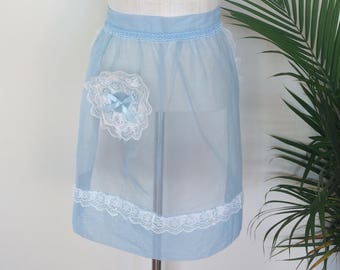 VINTAGE HOSTESS APRON - midcentury, icy blue sheer chiffon, white lace, round lacy pocket (1950s 1960s)