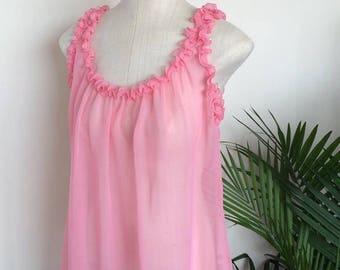 RONNIE - vintage pink chiffon babydoll, sheer ruffled peignoir nightie, kitsch pinup lingerie  (1960s)
