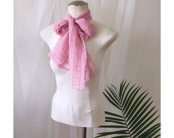 37583d7f8 NARROW PINK SCARF, vintage grid textured pussybow scarf, retro sheer pussy  bow neckerchief (1960s 1970s)