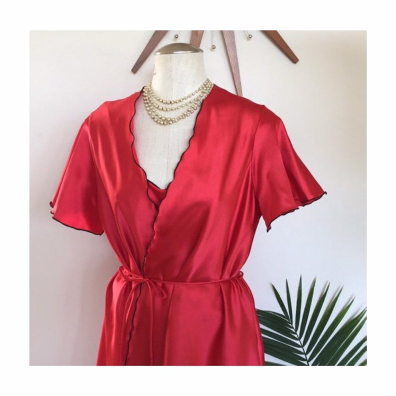 3b6d4979e16 ROBERTA vintage red satin lingerie set slip nightie and