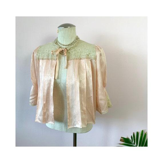 CHELO - vintage peach satin bedjacket, good luck n