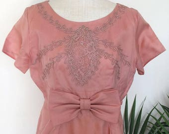 ROSE COCKTAIL DRESS - vintage dusty pink wiggle, gown, large bow, nipped waist, floral embroidery, mid-century pin-up (1950s 1960s)
