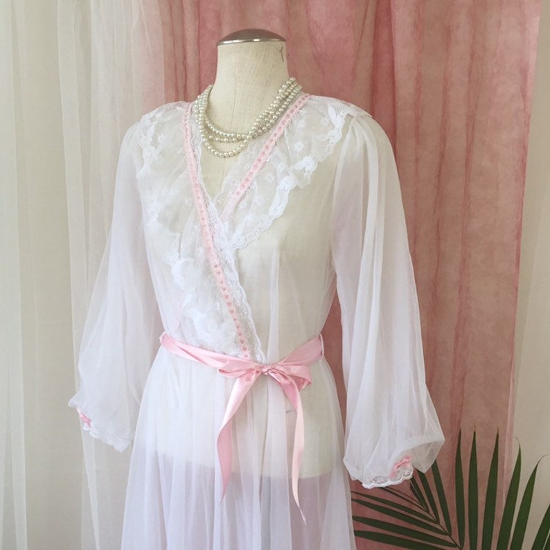 eb0fd04d452 CANDICE vintage white peignoir robe sheer dressing gown
