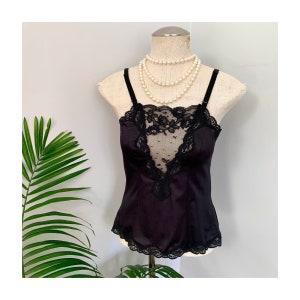 inky black lace trim pin up lingerie EARTHA 1960s retro bodysuit vintage satin teddy