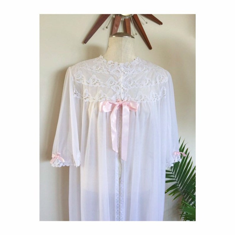 53506918fc9 BEBE vintage peignoir robe sheer white chiffon dressing