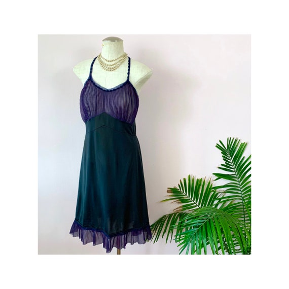 OLIVIA - vintage full slip, sheer navy accordion p