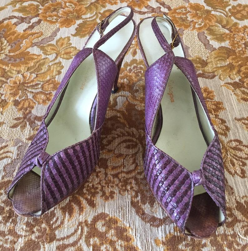 3c6409ec848 VINTAGE MIDCENTURY SLINGBACKS peep-toe purple alligator