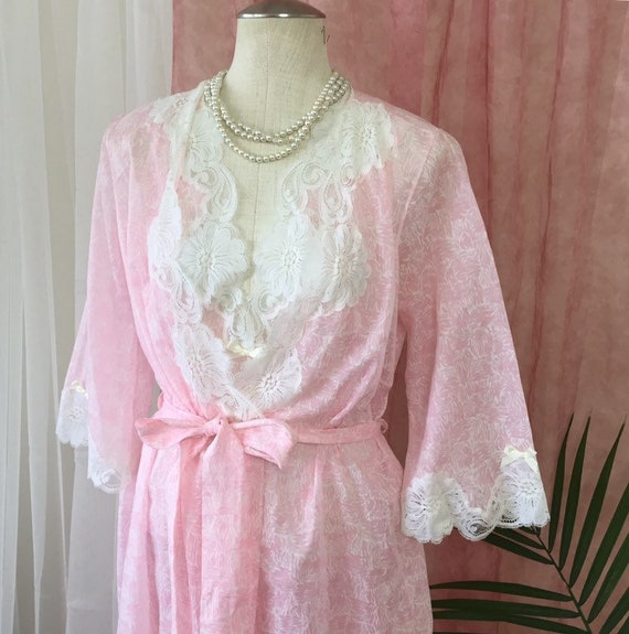 940e42047b JOSEPHINE vintage peignoir set long pink nightgown bell