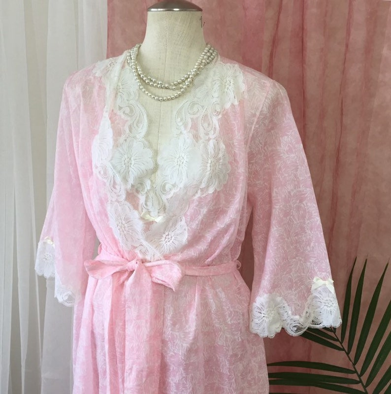 3797ed71686 JOSEPHINE vintage peignoir set long pink nightgown bell