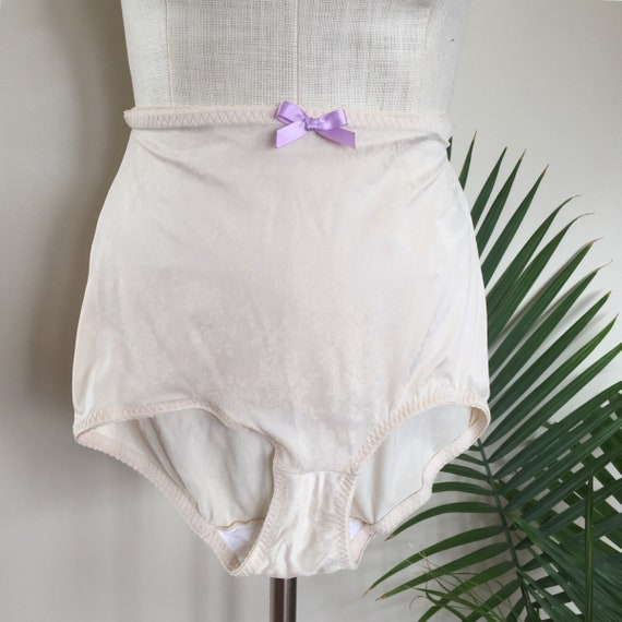 CLEO vintage pinup panties ivory satin floral knickers  08b0e0706